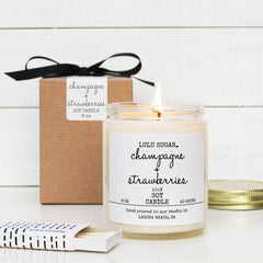 Lulu Sugar, Champagne + Strawberries Scented Soy Candle