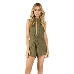 Honey Punch, Front Twist Mock Neck Romper