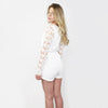 Reverse, Daisy Lace Sleeve Romper in White