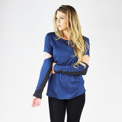 Blue Life, Scoop Neck Cut Out Sleeve Tee