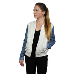 Honey Punch, Denim Sleeve Zip Up Bomber