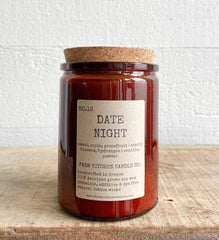 Farm Kitchen Candle Co., Amber Glass Date Night Soy Candle
