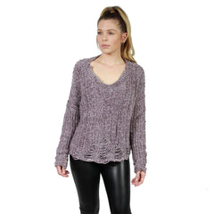 Honey Punch, Destructed Chenille Cable Sweater