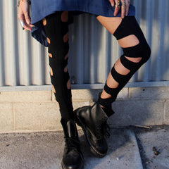 Blue Life, Thigh High Gladiator in Faded Black