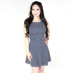 Glamorous, Stripe Open Back Skater Dress