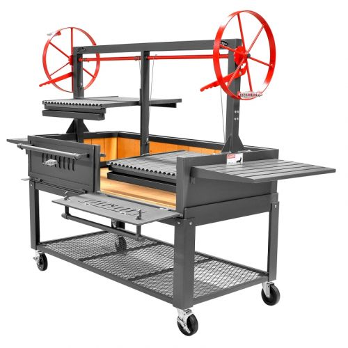 "Bbq Pit Boys Santa Maria 60"" w/Fire Brick, Grill Head, Firebox & Cart, Double Door, Single Grate -3601-60DSICRT"