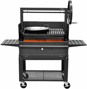 "Bbq Pit Boys Santa Maria 36"" w/cart Custom Design - with Paella Setup  (WINDBREAK NOT INCLUDED)"