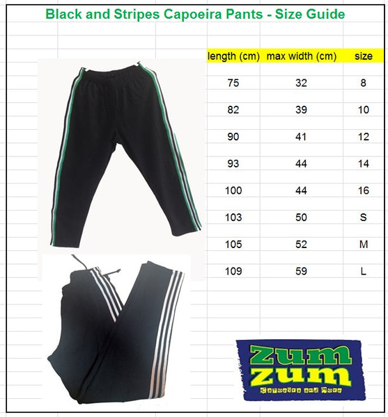 ZumZum Capoeira Black Training Pants - Size Guide