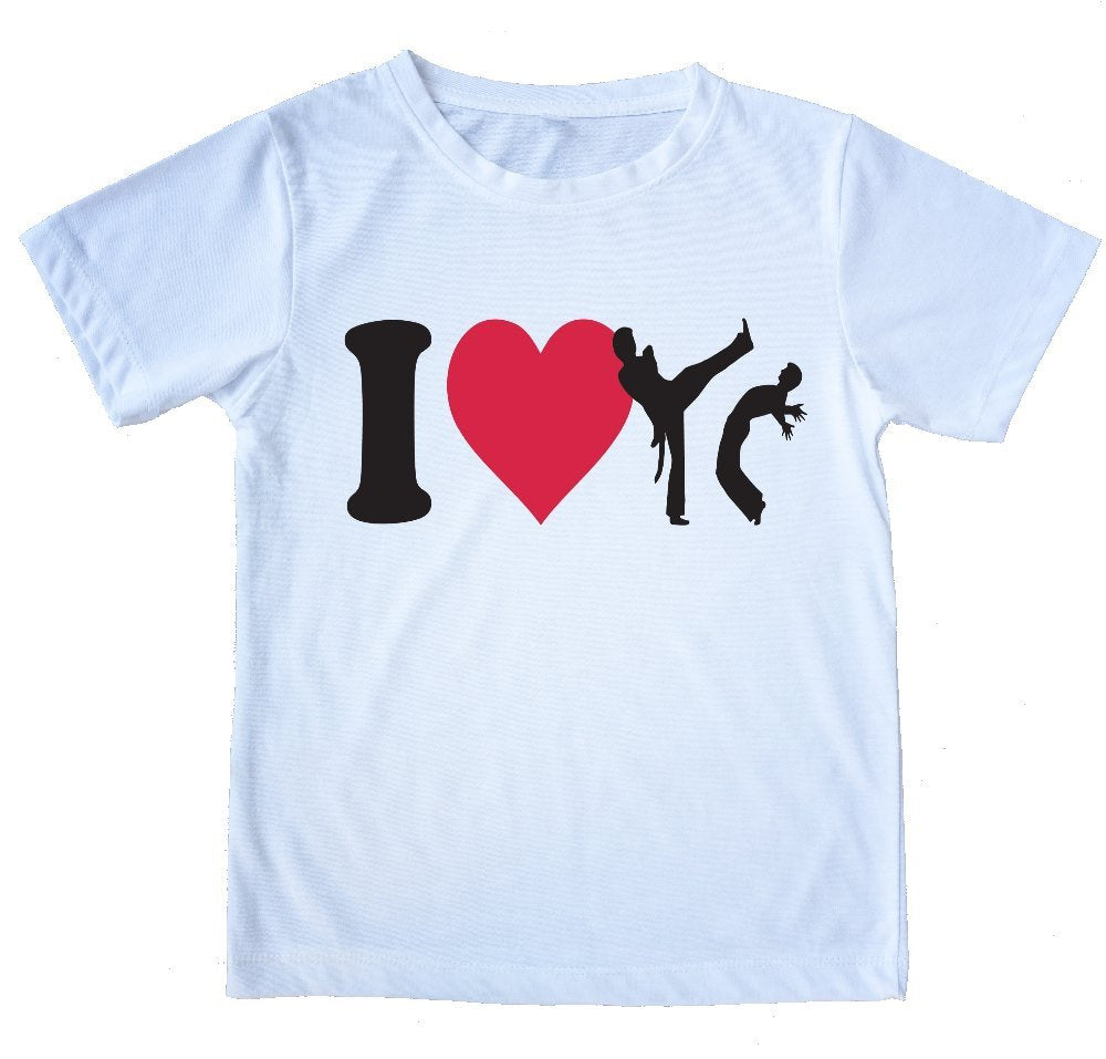 "Printed Capoeira T-Shirt - ""I Love Capoeira"" - Kids & Adults - 100% Cotton - ZumZum Capoeira Shop"