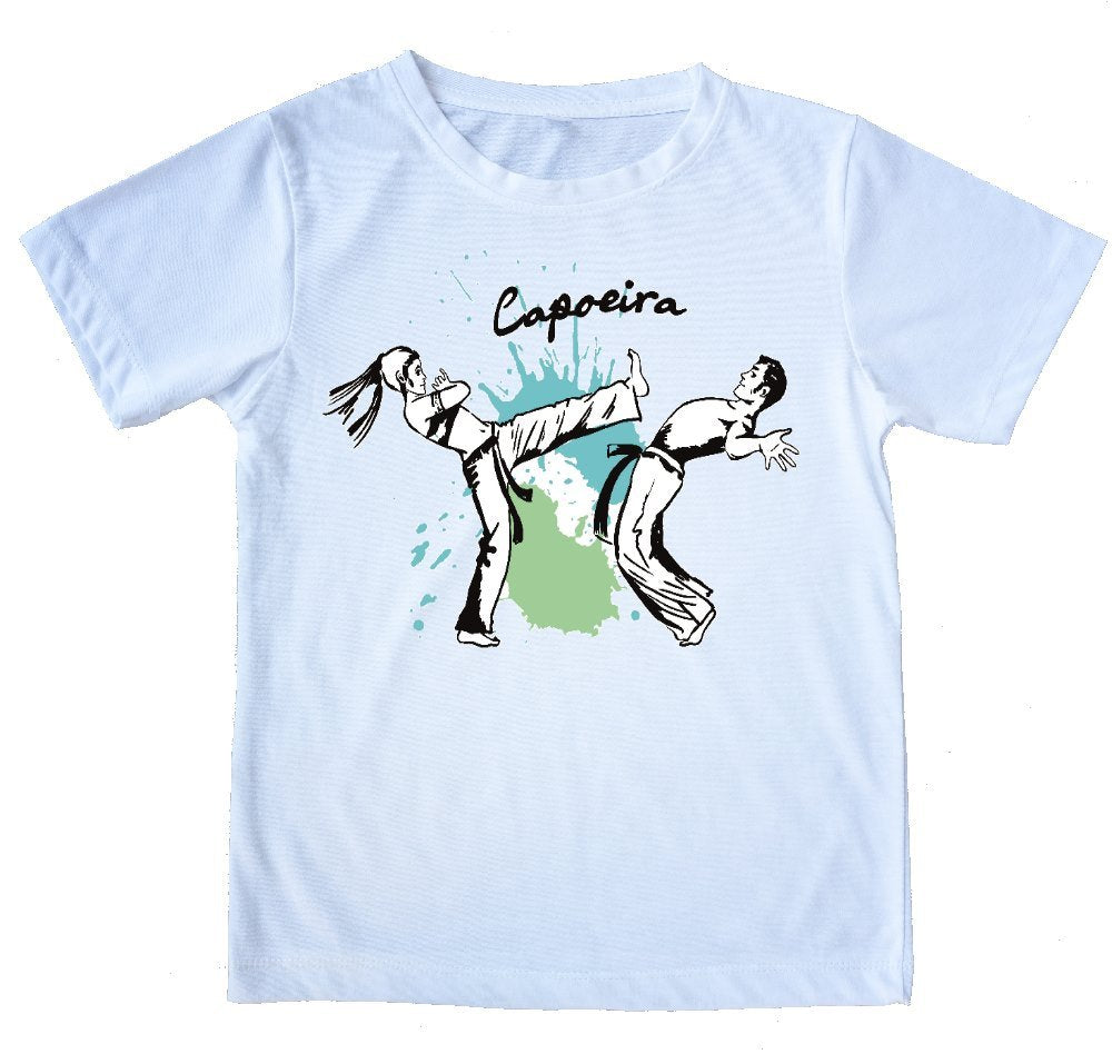 "White Printed Capoeira T-Shirt - ""Kicking It"" - 100% Cotton - Kids and Adults"