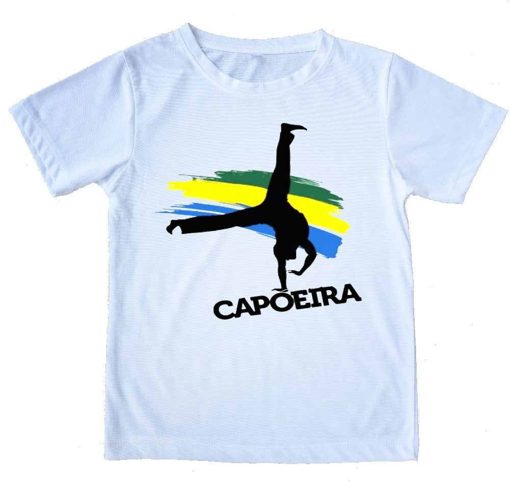 "White Printed Capoeira T-Shirt - ""Au"" - 100% Cotton - ZumZum Capoeira Shop"