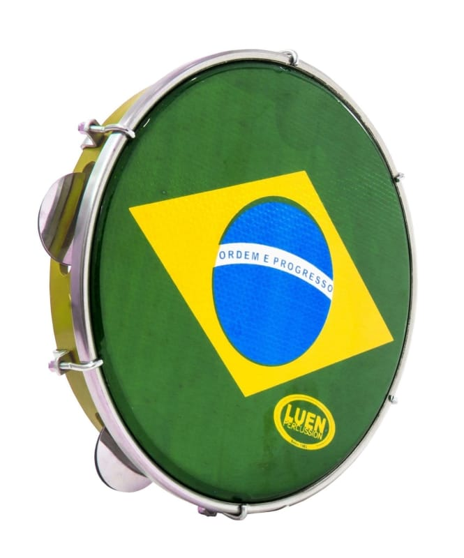 "8"" Holographic Brazilian Flag Pandeiro for Kids - ZumZum Capoeira Shop"