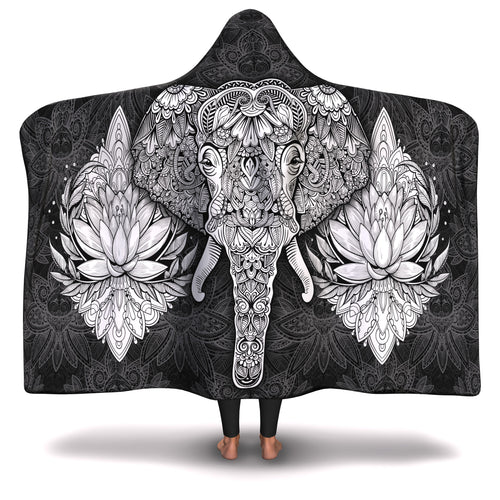 Black Elephant Mandala Hooded Blanket