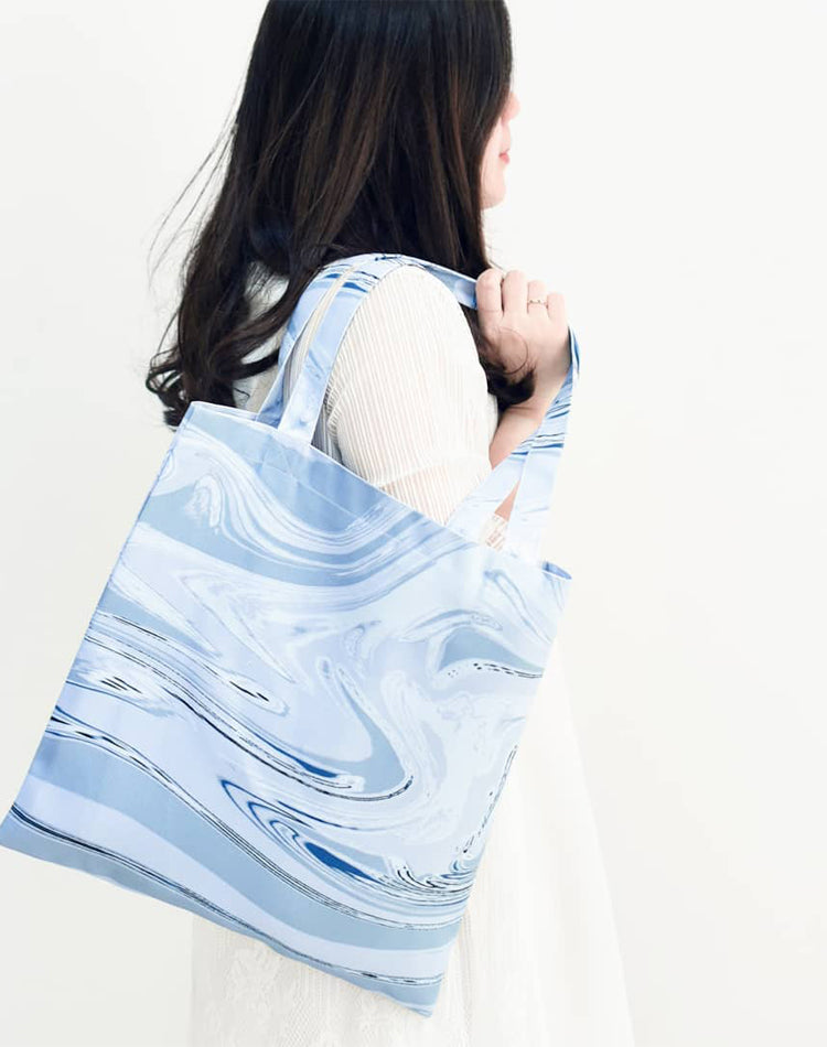 Blue Flow Canvas Tote Bag.藍色流水帆布手提袋