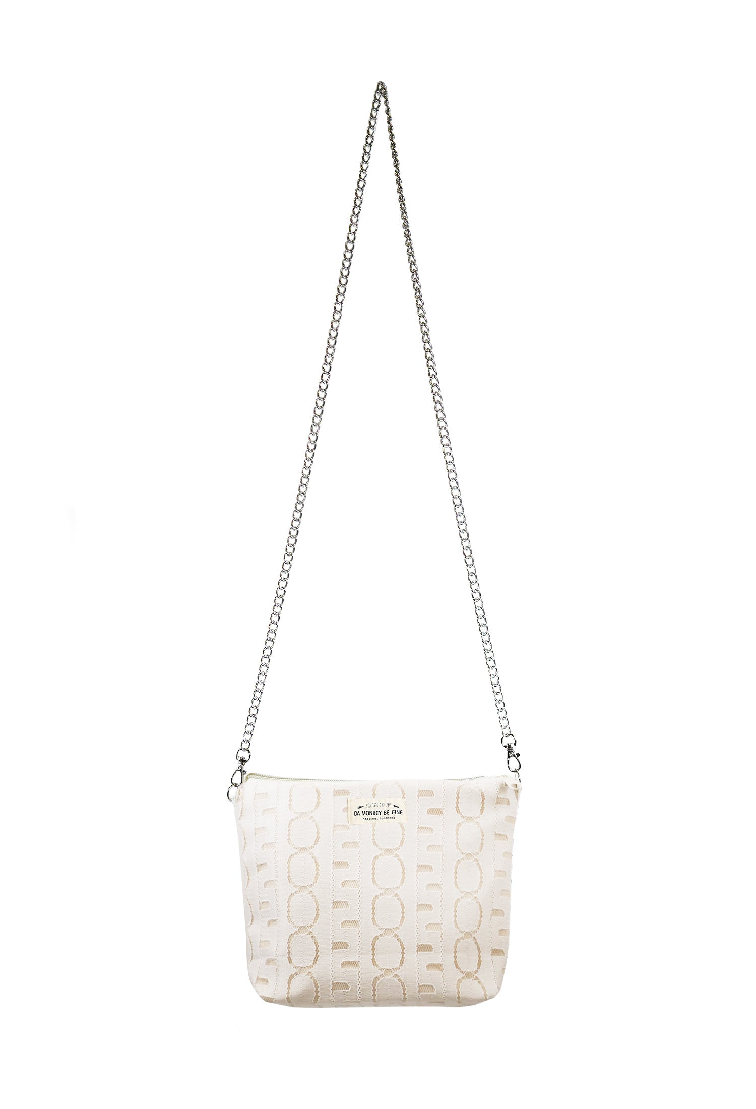 White Lace Canvas Sling Bag.白色蕾絲帆布吊帶包