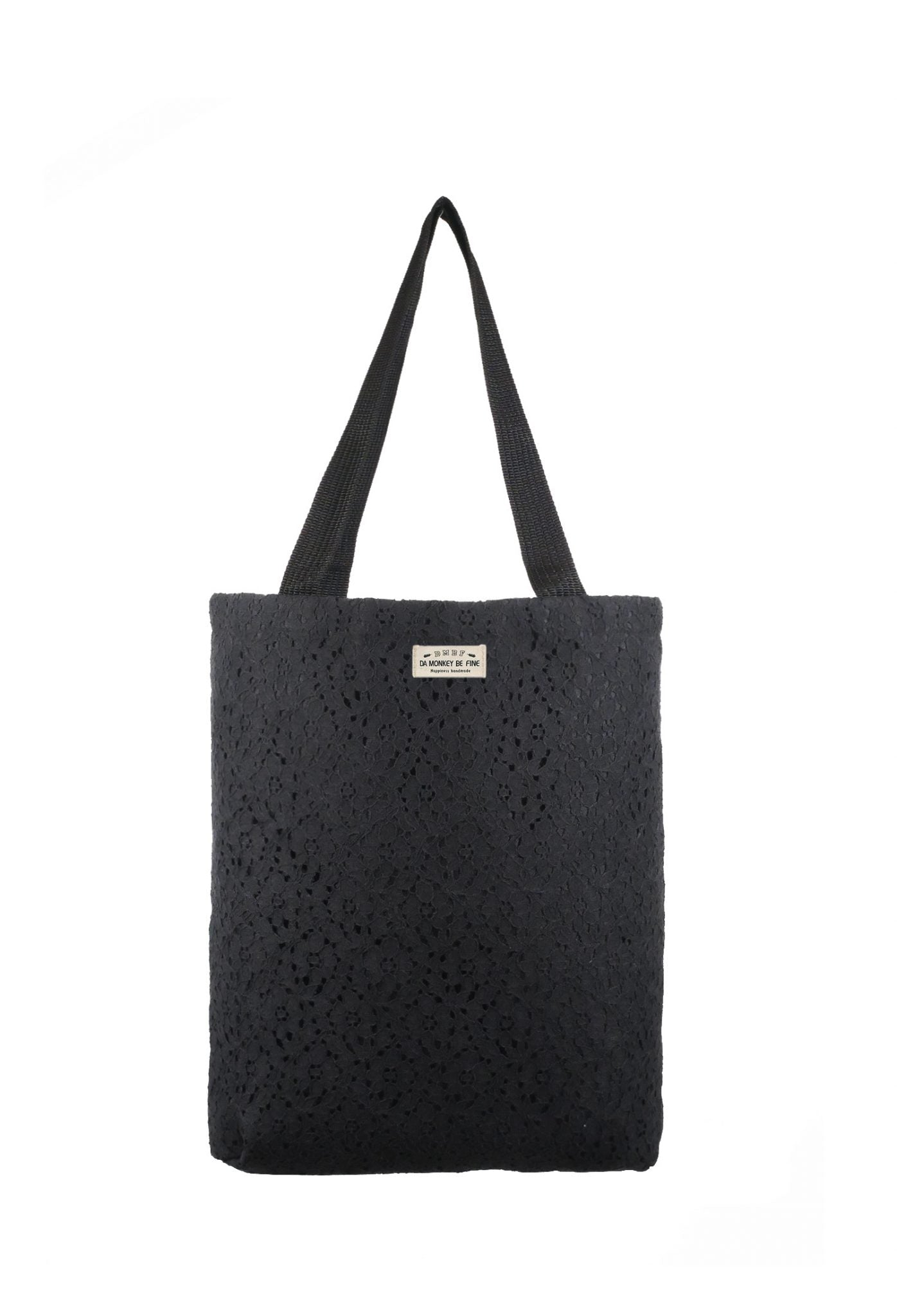 Floral Duo Lace Canvas Tote Bag.花卉波紋蕾絲帆布側背袋