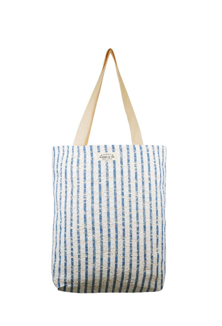 Pinstripe Lace Canvas Tote Bag.條紋蕾絲帆布側背袋