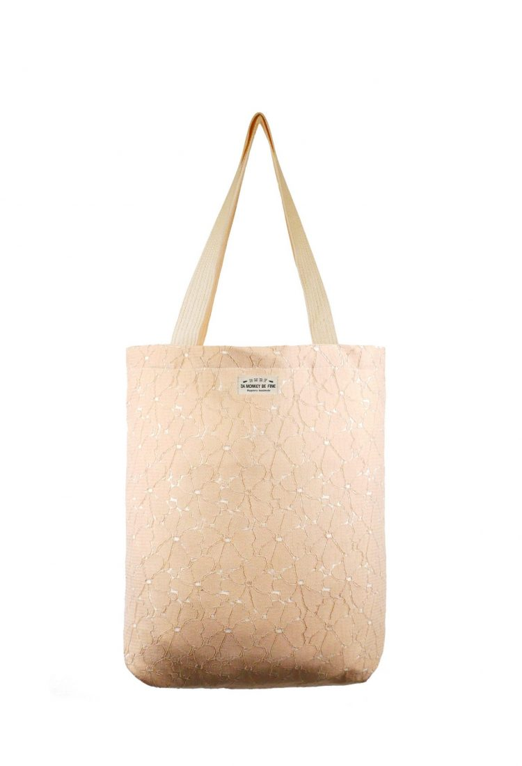 Nature Duo Lace Canvas Tote Bag.自然波紋蕾絲帆布側背袋