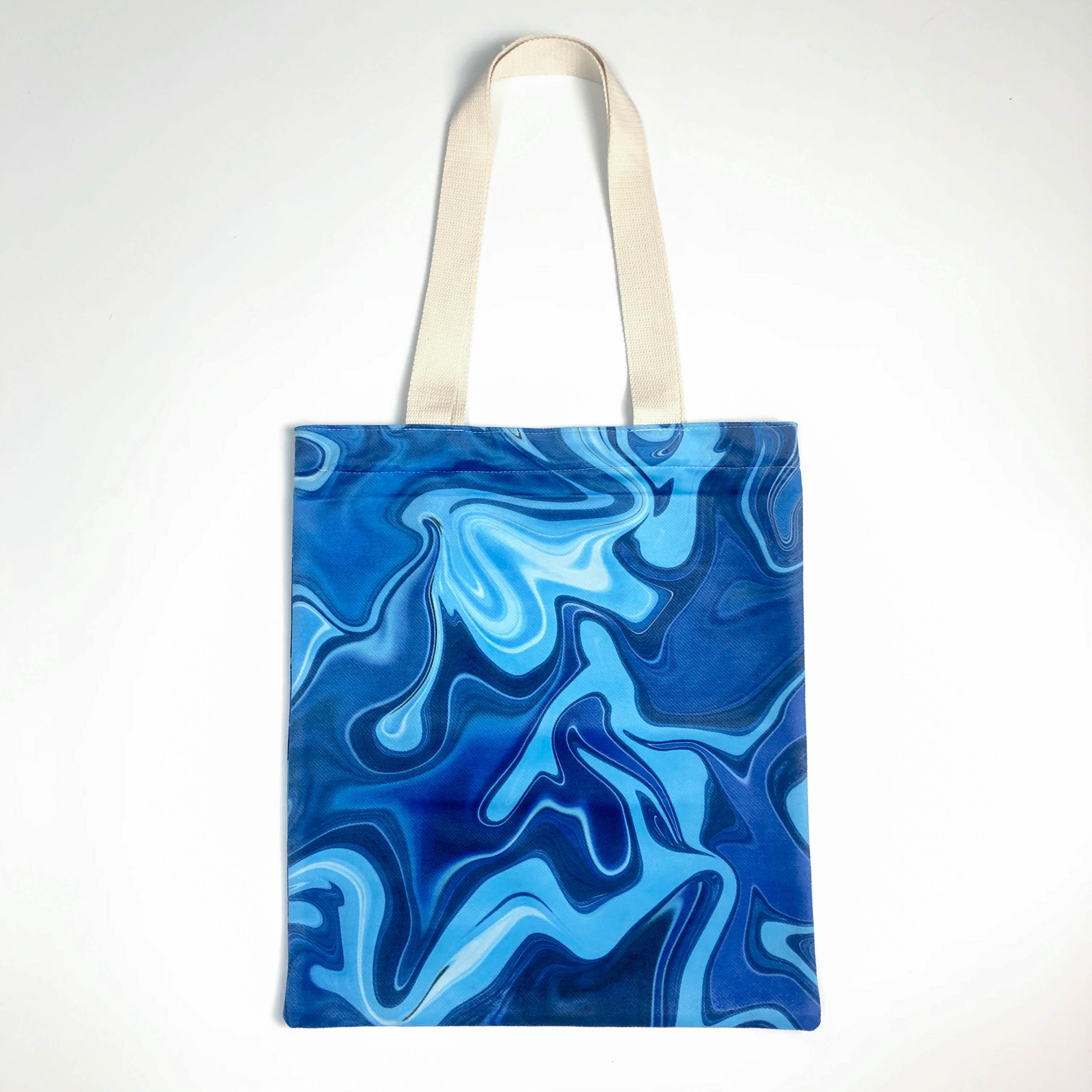 Light Navy Flow Canvas Tote Bag