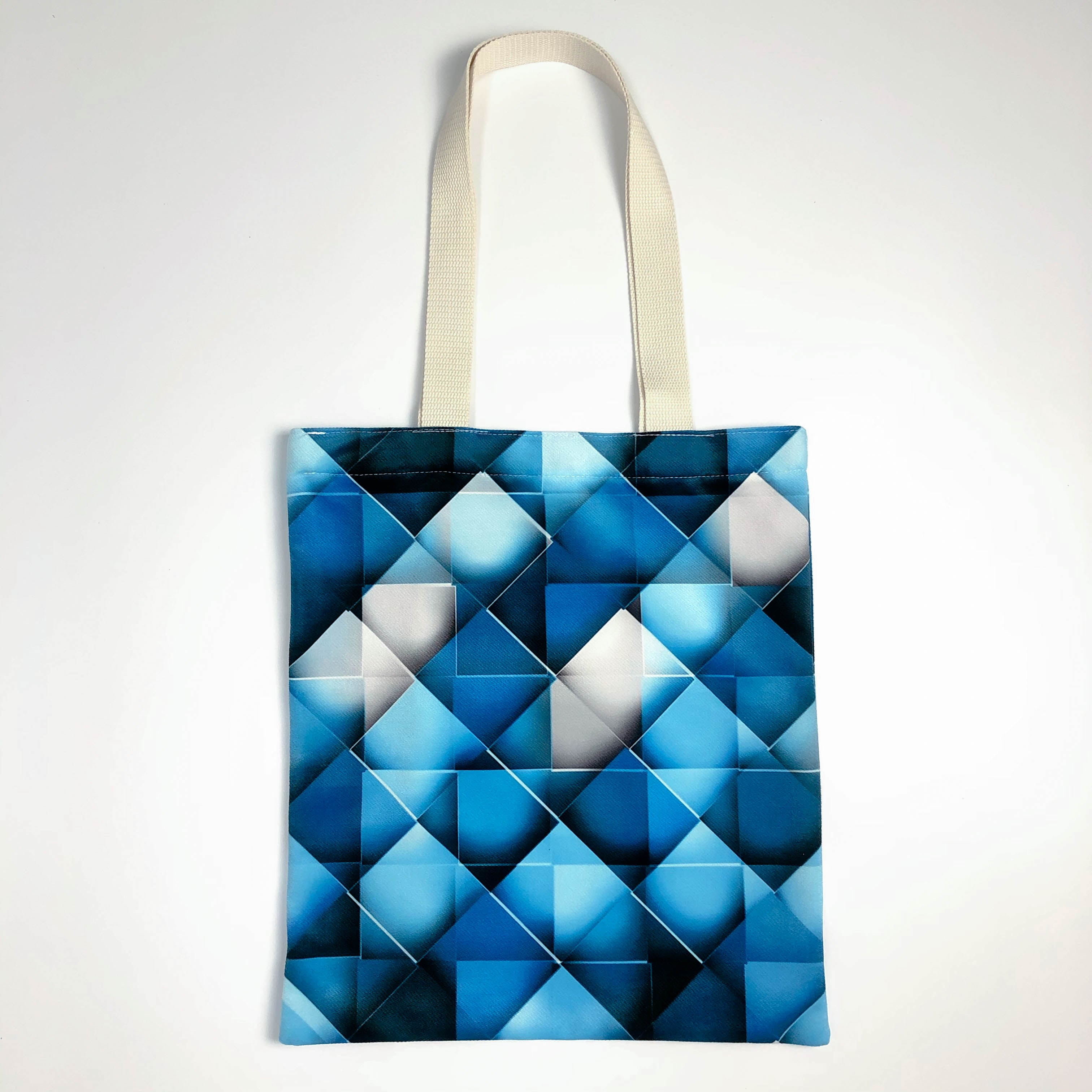 Blue Geometric Pattern Canvas Tote Bag