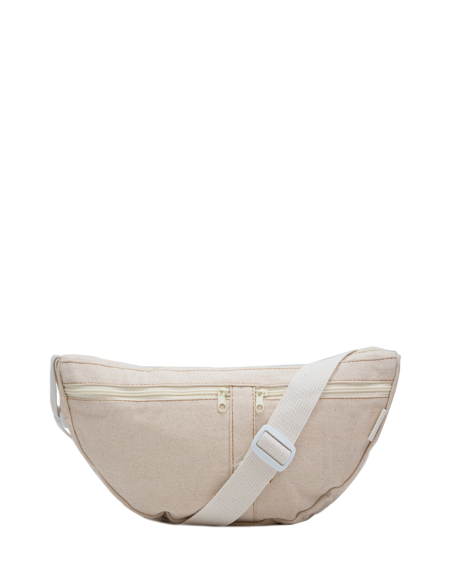 White Canvas Belt Sling Bag.白色帆布斜揹腰包