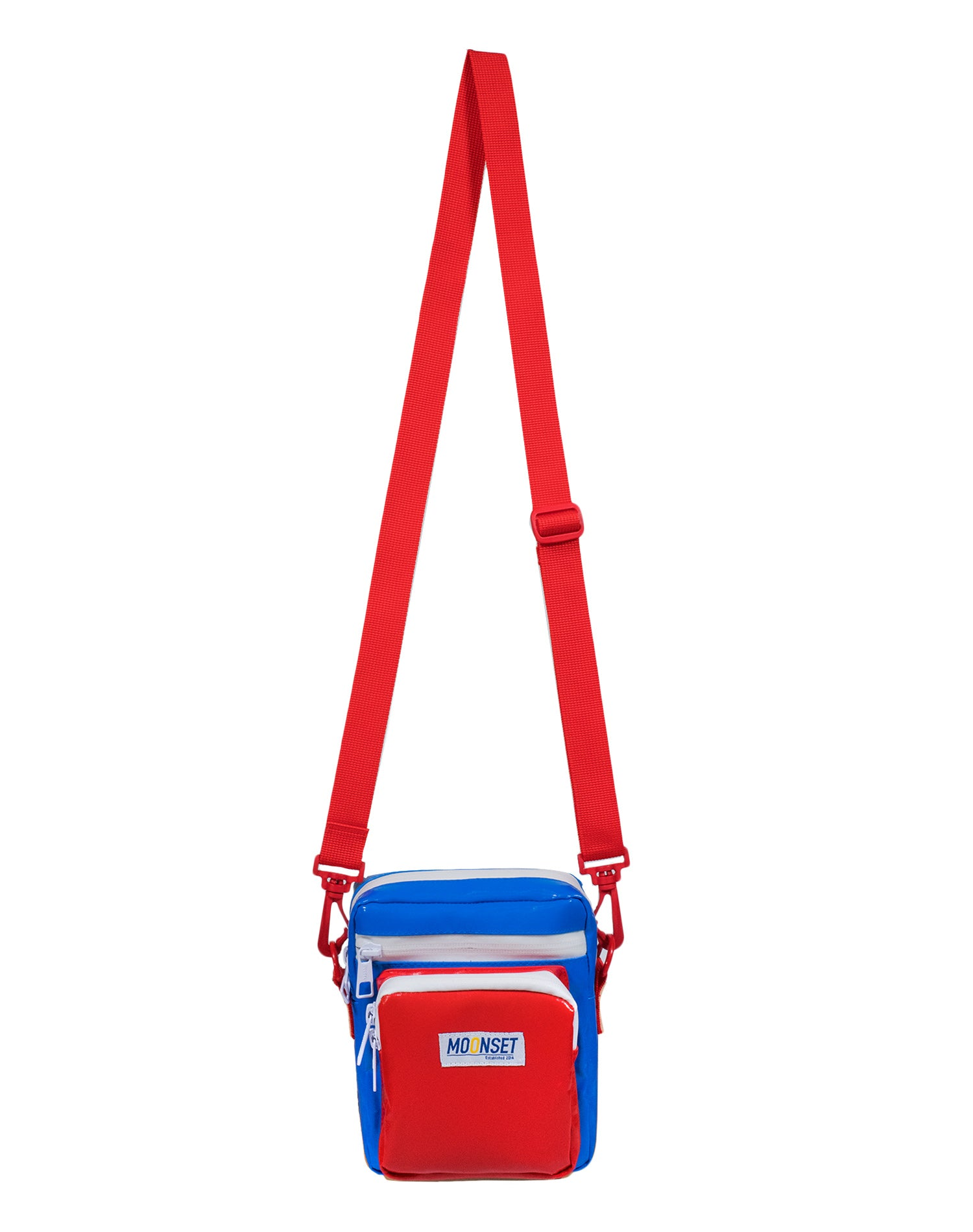 Patriot Flag Tarpaulin Canvas Shoulder Bag.藍紅系防水帆布單肩斜挎袋