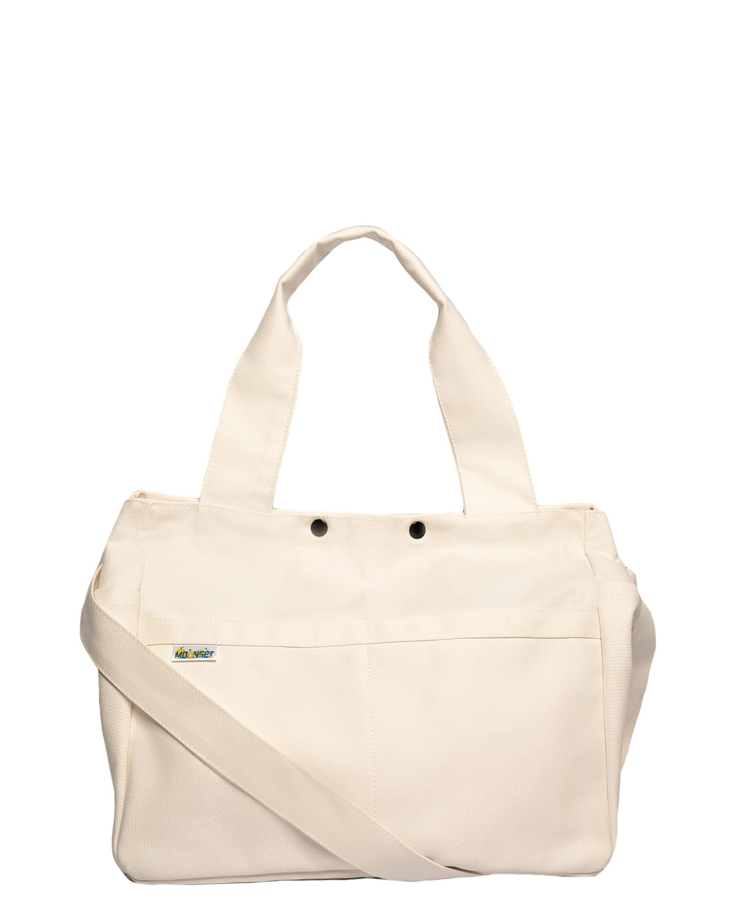 White Square Canvas Tote Bag.白色方形帆布側孭袋