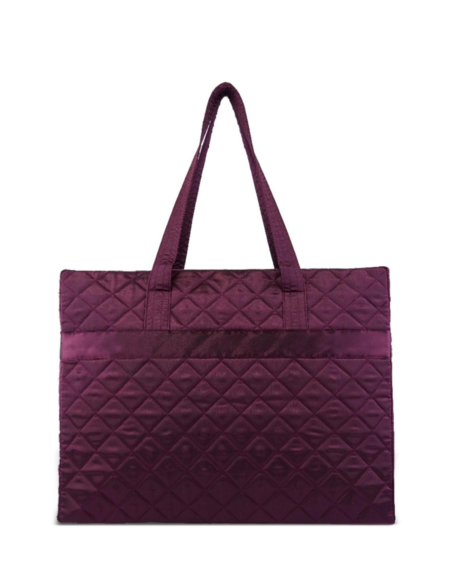 Purple Satin Quilted Tote Bag.紫色缎布側背提袋