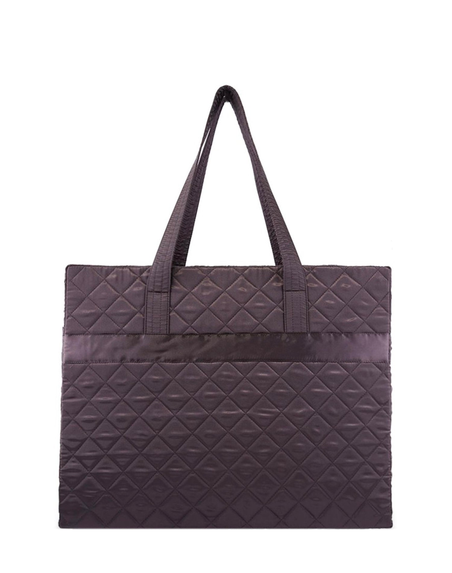Deep Brown Satin Quilted Tote Bag.深啡色缎布側背袋