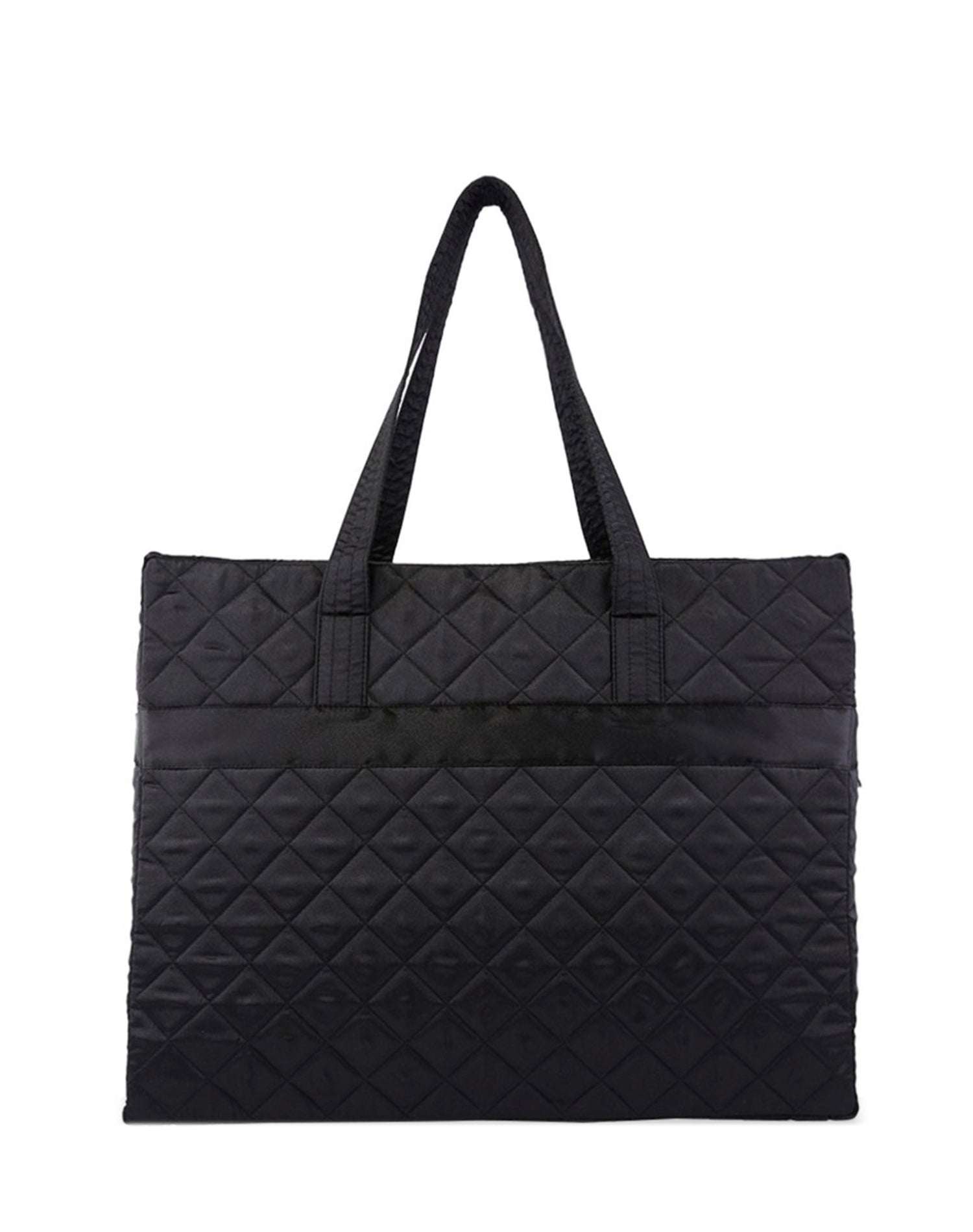 Black Satin Quilted Tote Bag.黑色缎布側背袋