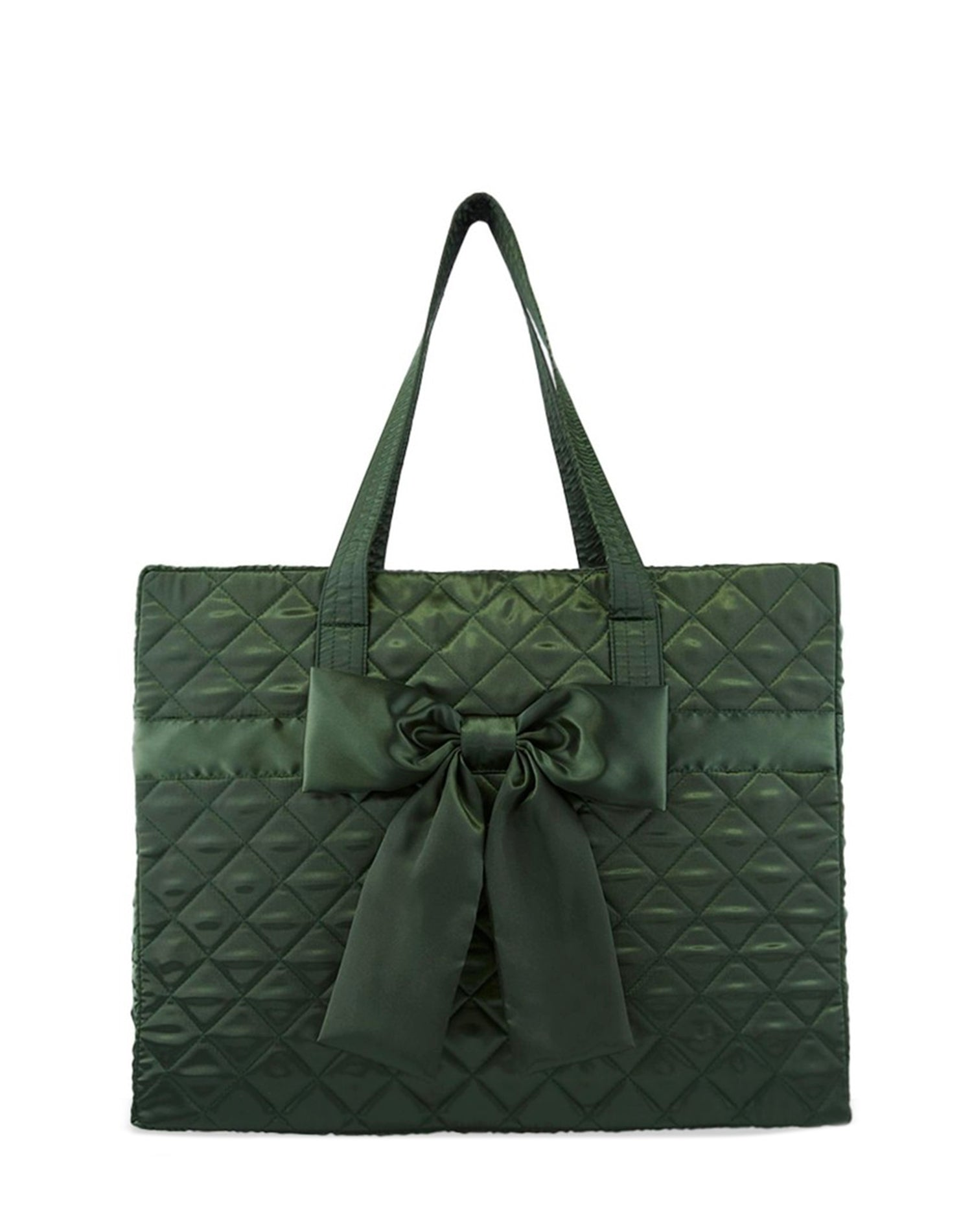 Deep Green Satin Quilted Tote Bag.深綠色缎布側背袋