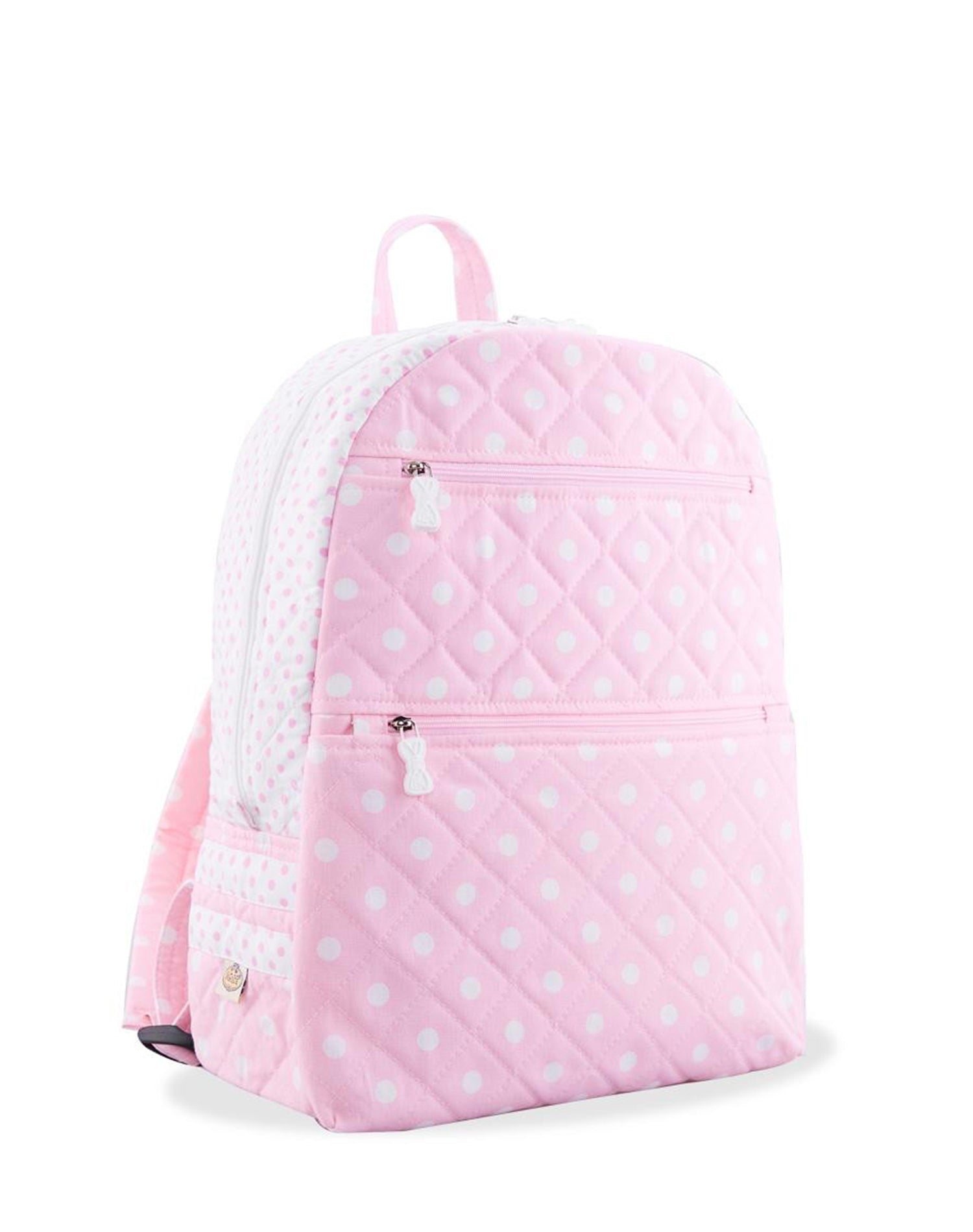 Pink Double Zip Polka Dot Backpack.粉紅色雙拉鍊波點背囊