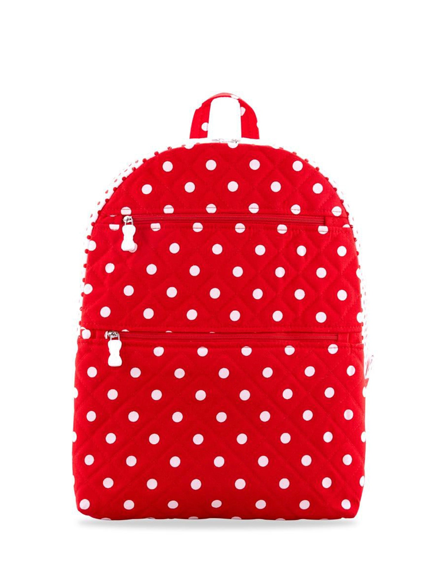 Red Double Zip Polka Dot Backpack.紅色雙拉鍊波點背囊