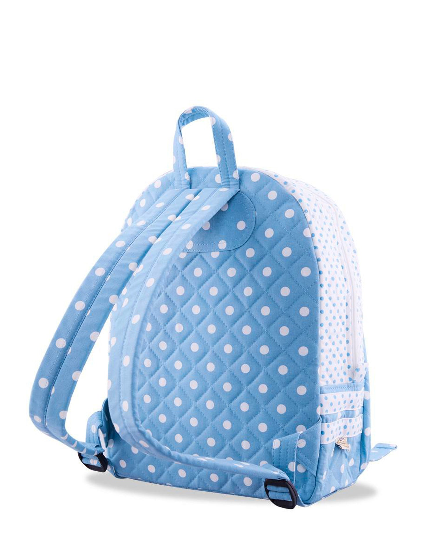 Blue Double Zip Polka Dot Backpack.藍色雙拉鍊波點背囊