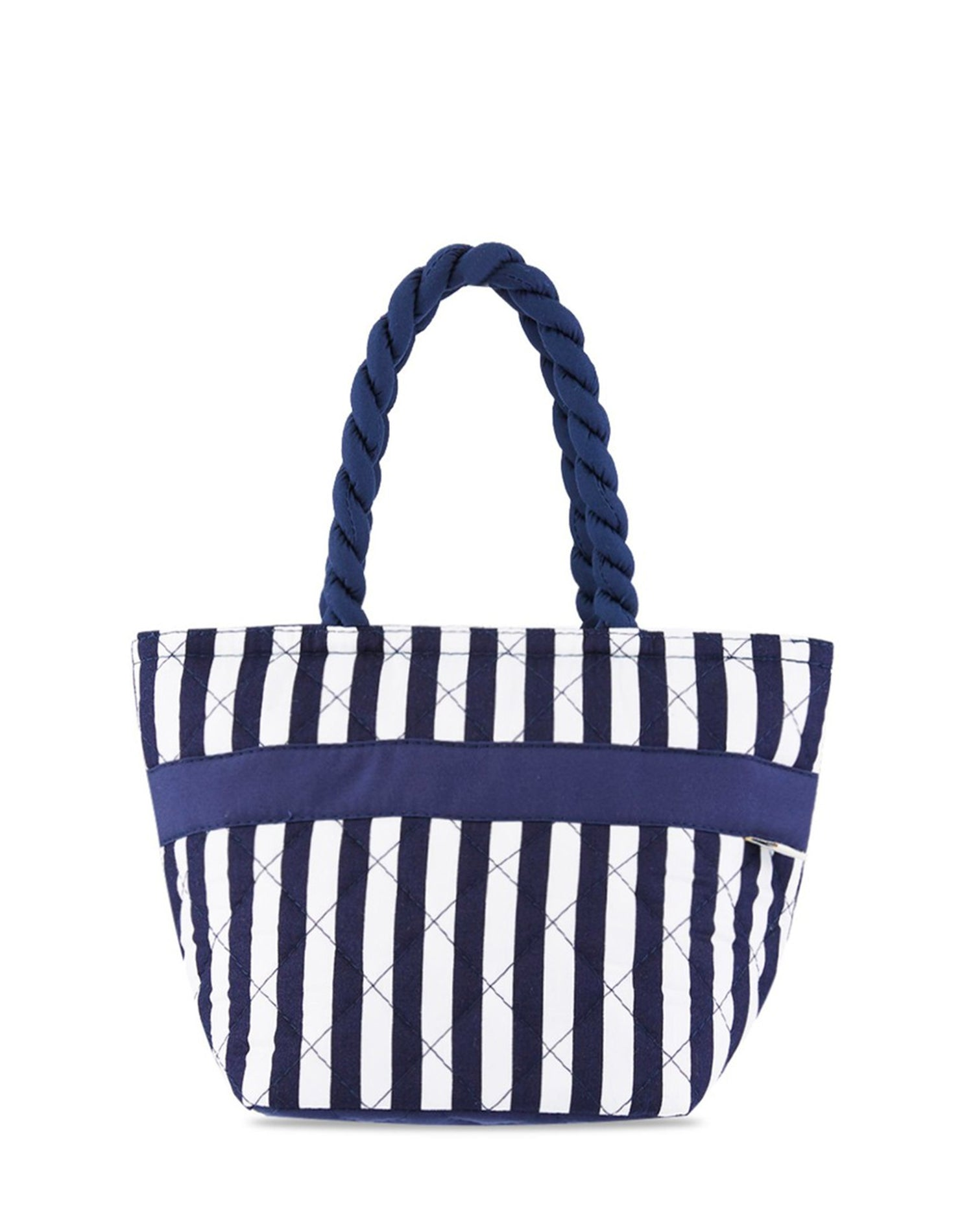 Striped Quilted Cotton Handbag.條紋絎縫棉布手提袋
