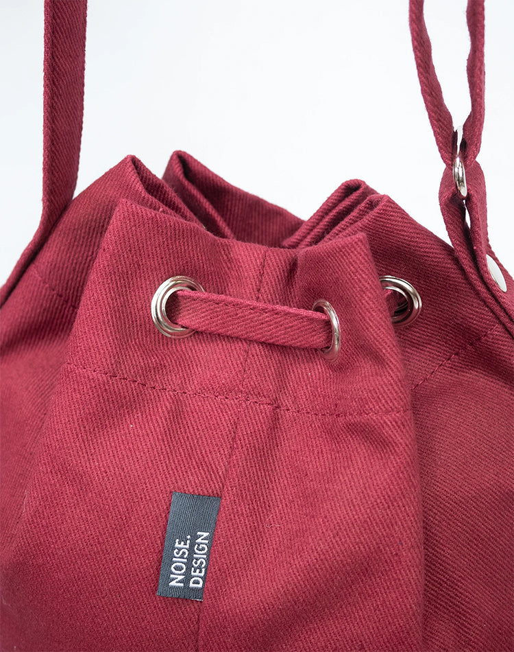 Handmade Red Canvas Bucket Bag.紅色帆布水桶袋
