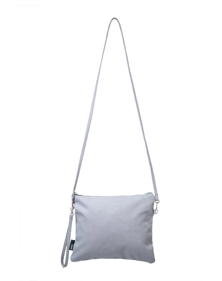 Handmade Grey Canvas Sling Bag.灰色帆布吊帶包