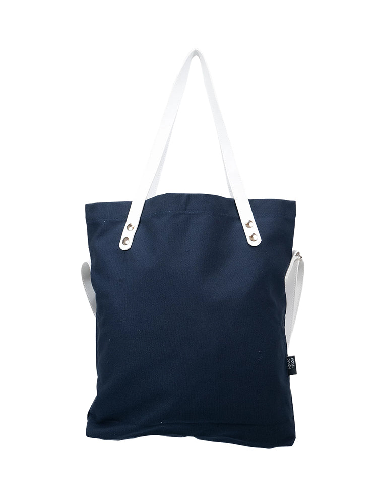 Handmade Navy Signature Tote Bag.藏青色手提袋