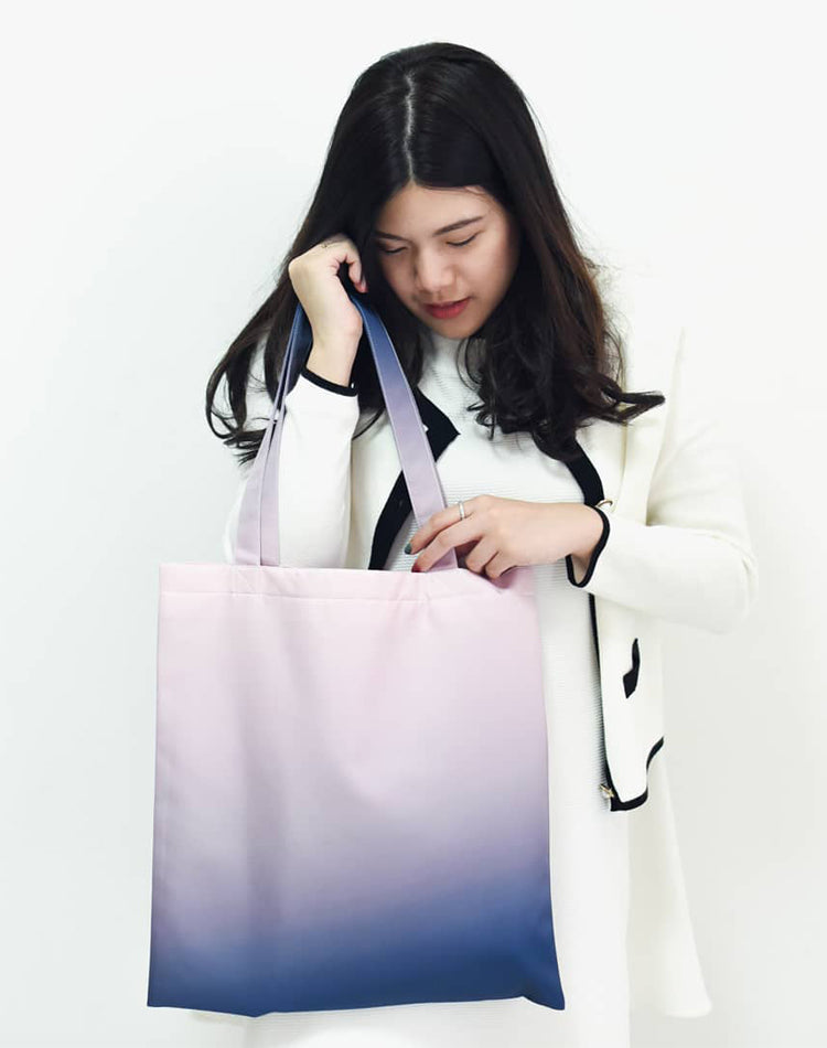 Pink Gradient Sunset Canvas Tote Bag.粉色日落帆布手提袋