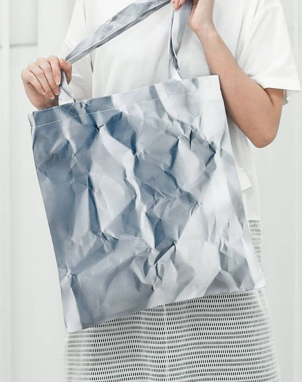 Recycled Paper Texture Canvas Tote Bag.仿環保紙設計帆布手提袋