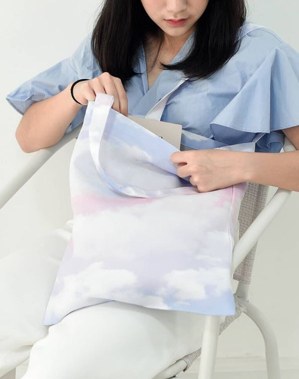 Cotton Clouds Canvas Tote Bag.粉紅色天空帆布手提袋