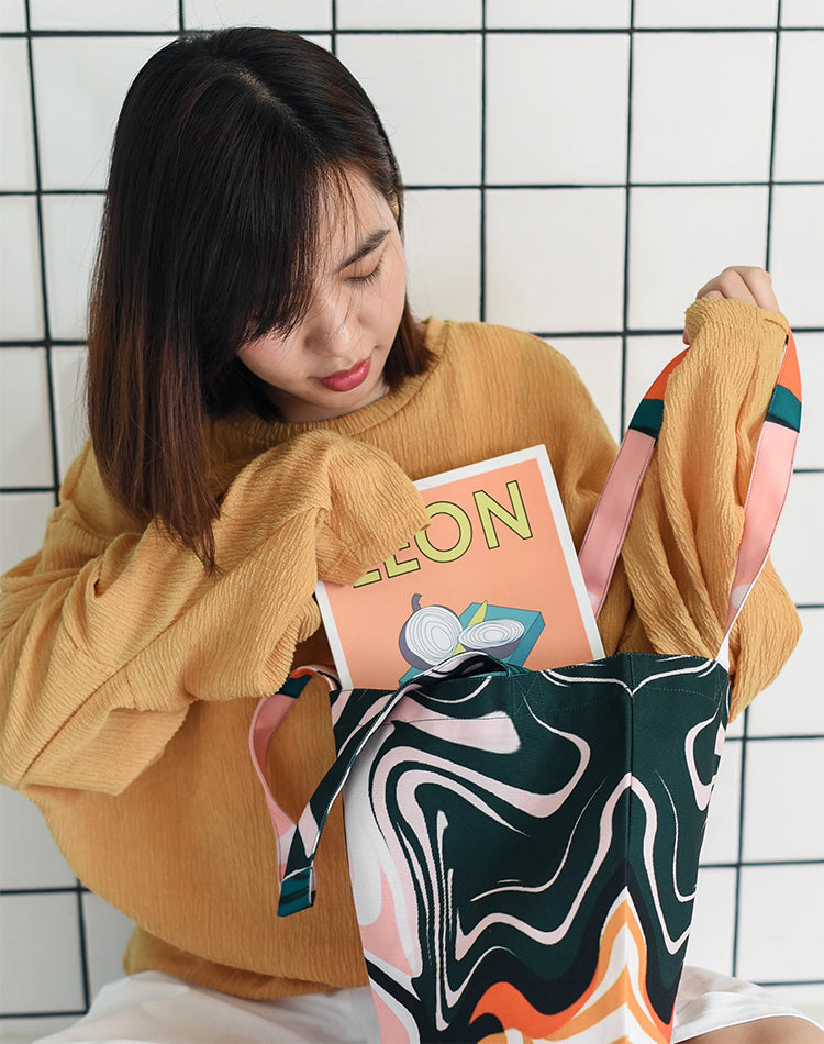 Jungle Marble Canvas Tote Bag.粉色流水帆布手提袋