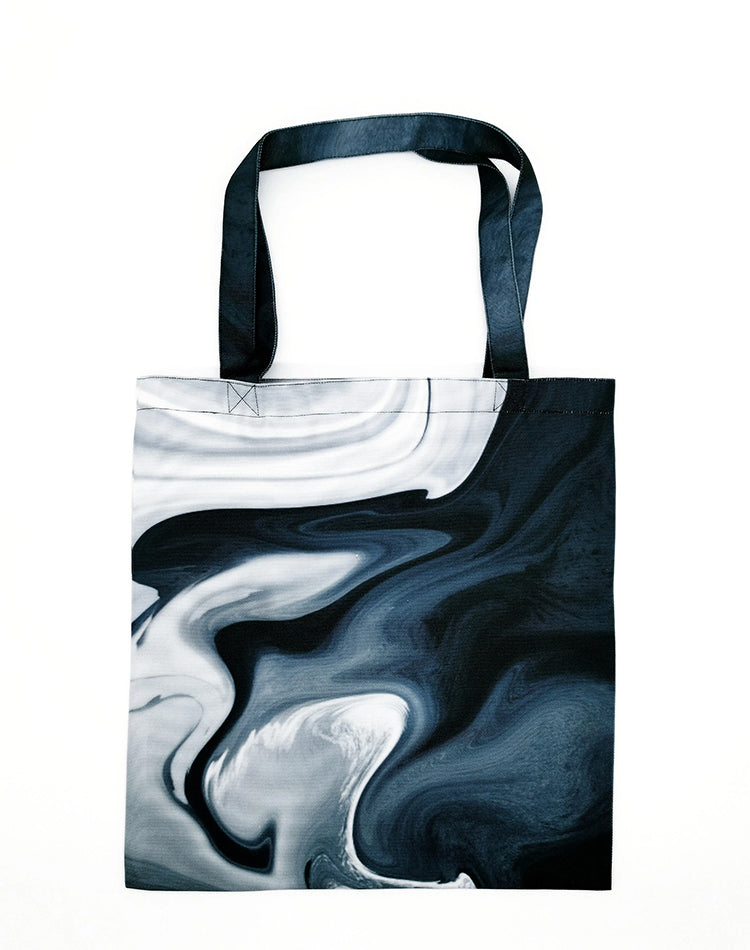 Dark Flow Canvas Tote Bag.深藍流水帆布手提袋