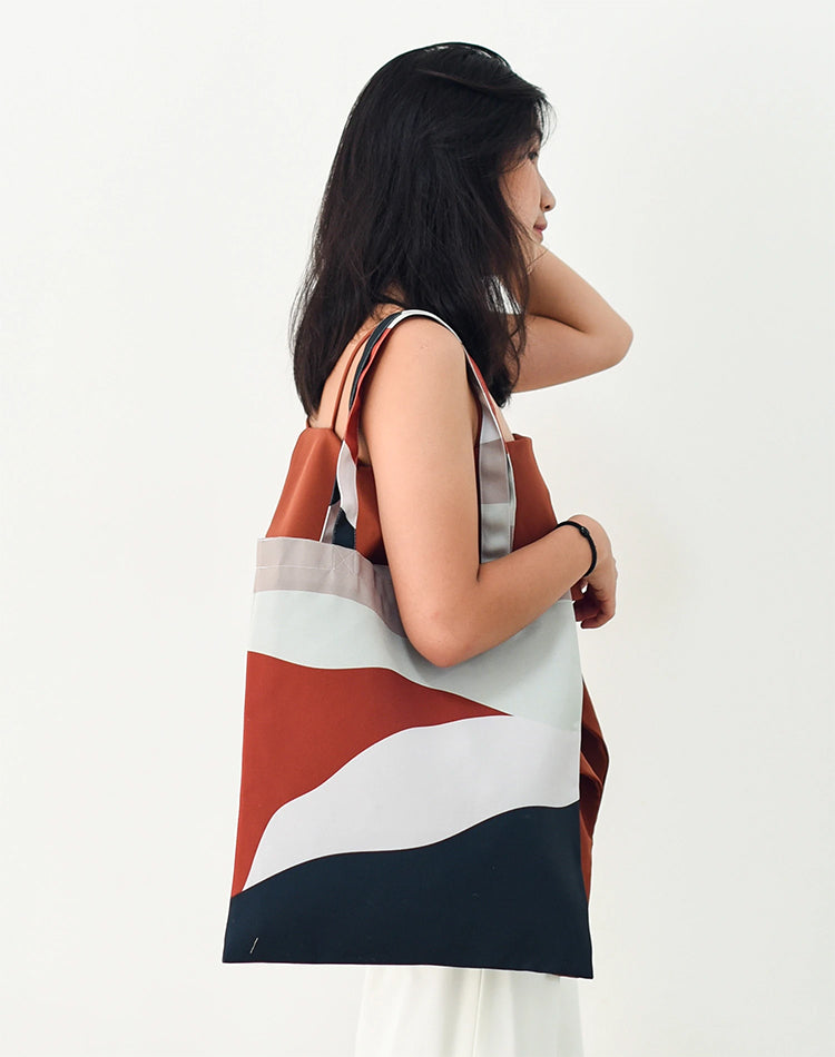 Brown Layer Canvas Tote Bag.日系拼色帆布手提袋