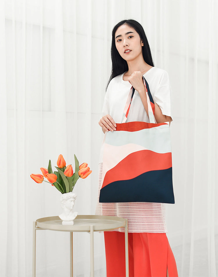 Orange Layer Canvas Tote Bag.橙色拼色帆布手提袋