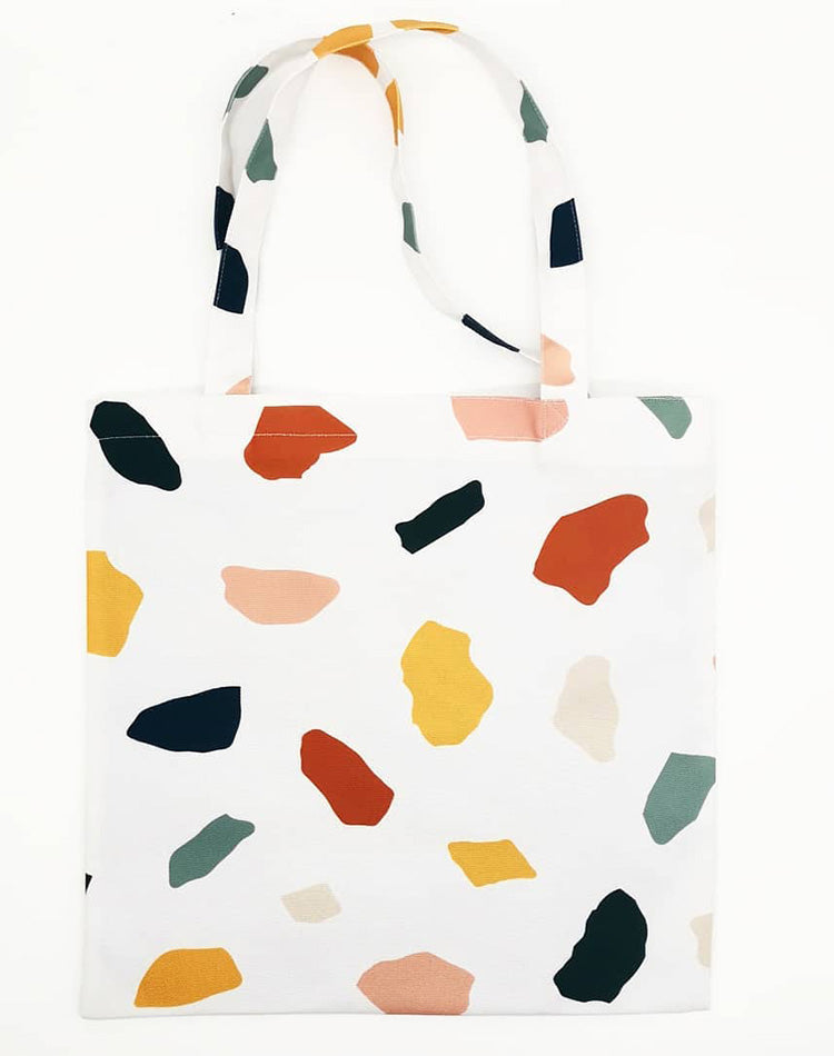 Colorful Stone Ball Canvas Tote Bag.彩色石型圖案帆布手提袋