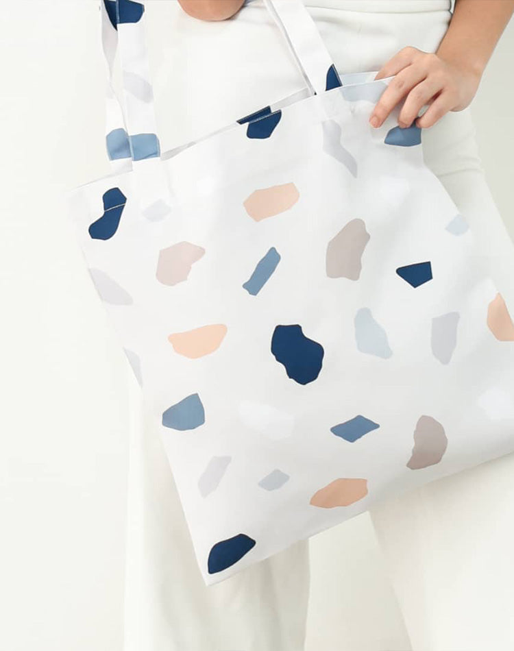Light Stone Pattern Canvas Tote Bag.淺色石型圖案帆布手提袋