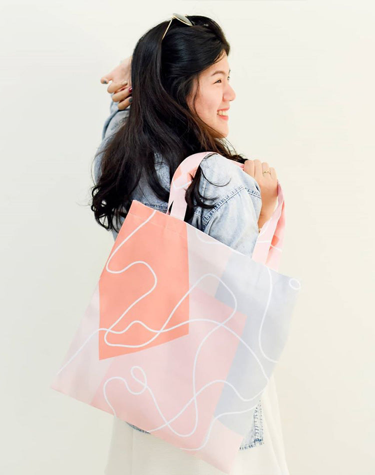 Abstract Light Pattern Canvas Tote Bag.抽象石型圖案帆布手提袋