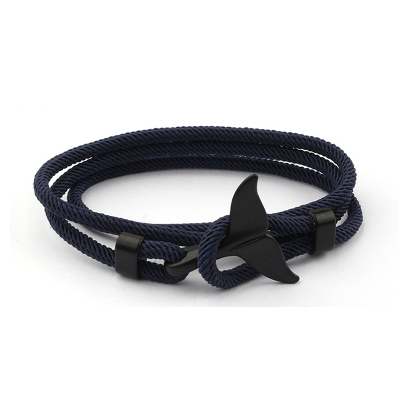 Simple Whale Handmade Rope Bracelet.簡約鯨魚尾巴創意手工編織手繩