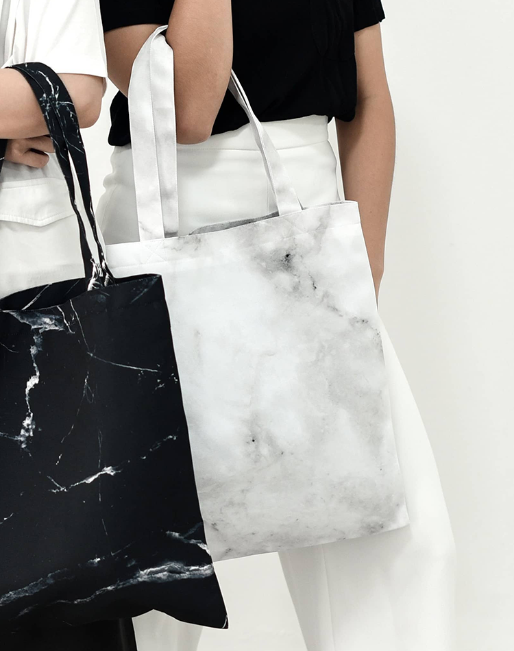 White Marble Canvas Tote Bag.白色大理石帆布手提袋